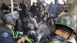 Wi Spa Protest 2 - LAPD Clash with Antifa as Opposing Groups Face Off in Los Angeles
