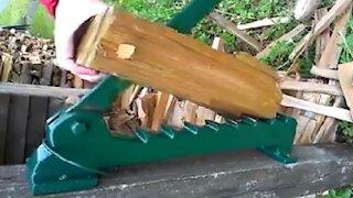 Interesting firewood-chopping device