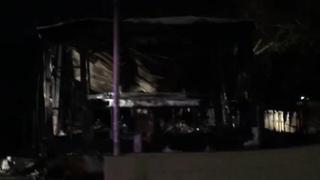 Fire destroys mobile home near Boulder Highway, Sahara