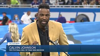 Calvin Johnson receives Hall of Fame ring during Lions halftime ceremony at Ford Field