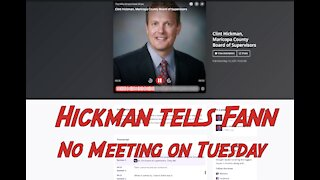 Maricopa County Supervisor Hickman Say No to Meeting with Senate on Tuesday