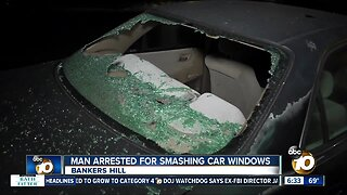 Man suspected of smashing car windows arrested