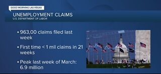 Unemployment claims down for first time in 21 weeks