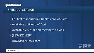 AAA offers free roadside assistance for health care workers and first responders