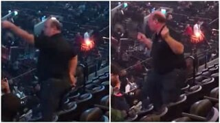 Funny man shows his dance moves before concert