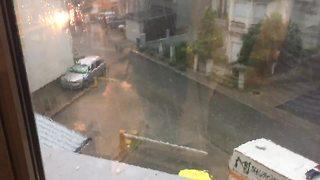 Intense hail storm captured on camera