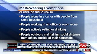 New CA guidelines for wearing masks