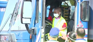 Las Vegas boy makes gift bags for sanitation workers