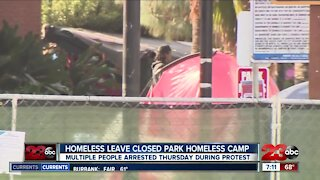 Homeless leave closed park homeless camp, multiple people arrested during protest