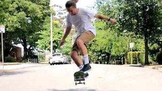 Amazing jump rope skateboarding trick