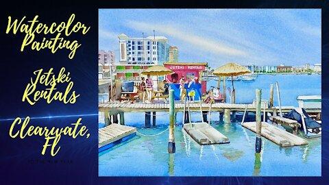 Watercolor Painting - Jet Ski Rental Seascape