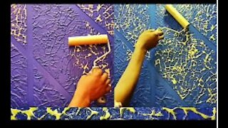 Wall putty texture Panch design painting ideas. easy method