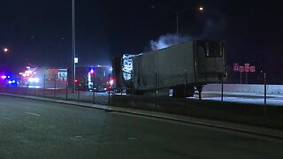 Westbound I-84 lanes in Caldwell blocked after semi-truck fire