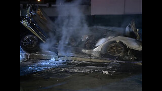 Driver arrested after fiery Tesla crash in Cardiff