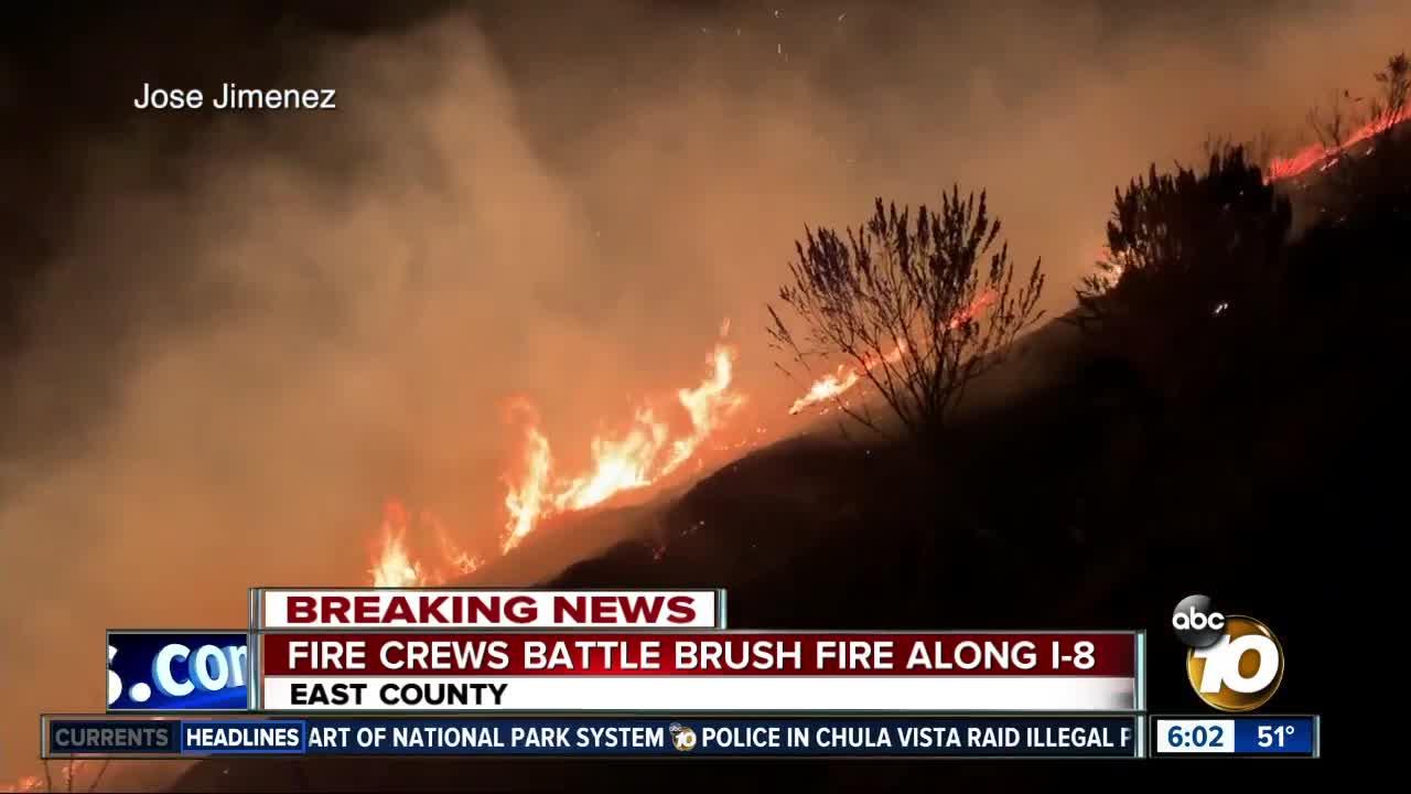 Fire crews battle brush fire along I-8
