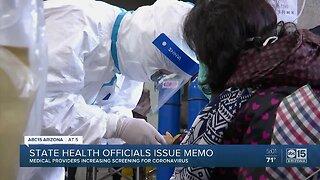 State health officials issue memo for coronavirus screenings