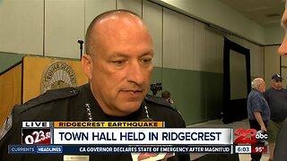 Ridgecrest Police Chief McLaughlin updating on earthquake recovery during town hall