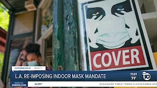 L.A. re-imposes indoor mask mandate, San Diego does not