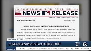 COVID-19 postpones two padres games