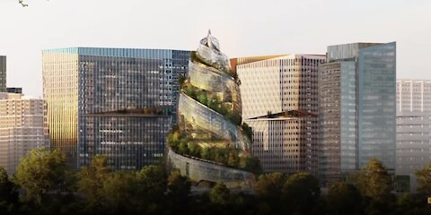 THE TOWER OF BABEL DESIGN, BEING BUILT FOR AMAZON HEADQUATERS