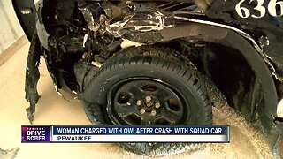 Woman charged with OWI after crash with Pewaukee squad car
