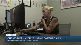 There is only one person taking unemployment calls in Lee County right now