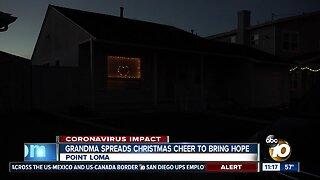 Grandma puts up Christmas lights to spread cheer