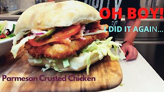 Crazy Easy Parmesan Crusted Chicken Sandwich