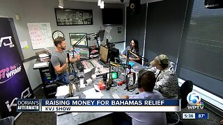 Raising money for Bahamas relief on the KVJ show