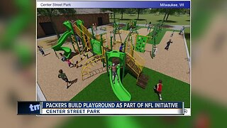 Green Bay Packers players help build a new playground at Milwaukee's Center Street Park