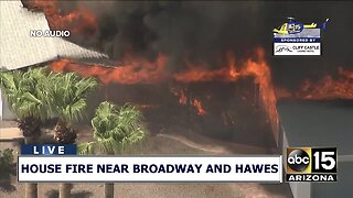 House fire near broadway and hawes
