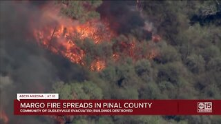 Evacuations ordered as crews battle 500-acre Margo Fire in east Pinal County