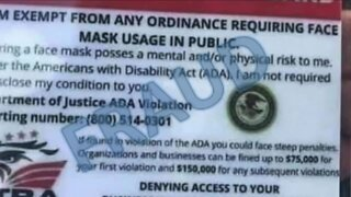 BBB warning about fake mask exemption cards