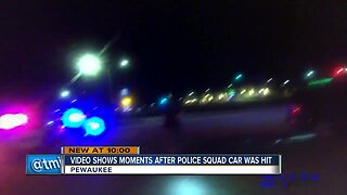 New video shows moments after squad car was hit in Pewaukee