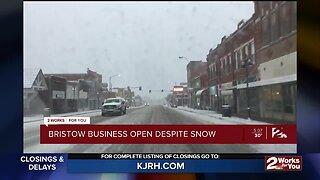 Bristow Business Open Despite Snow