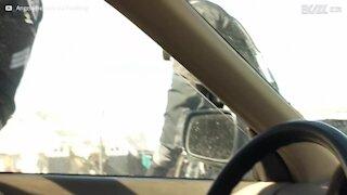La polizia gli rompe il finestrino per tirarlo fuori dall'auto...