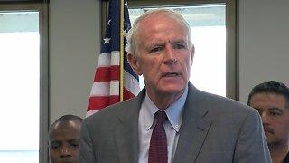 Milwaukee Mayor Tom Barrett reacts to Officer Kou Her's death