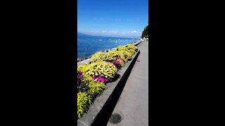 Walking in the lake in Switzerland summer 2020