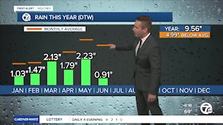 """Metro Detroit experiencing moderate drought with average rainfall down about 5"""" this year"""