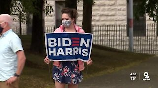 Biden supporters gather outside Union Terminal for his visit