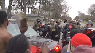 Rioter Grabs Brick to Throw at Police - INSTANTLY Regrets It