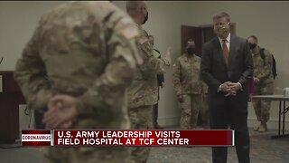 US Army leadership visits field hospital at Detroit's TCF Center