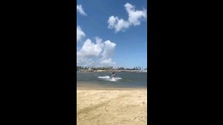 Cool girl surfing