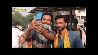 Rahul Vaidya arrives with Disha Parmar at the Siddhivinayak temple ahead of his wedding preparations