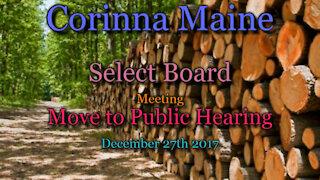 20171227 Corinna Maine SB Meeting -- Move to Public Hearing