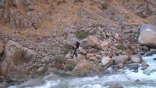 Helicopter rescues man trapped on rock in Kern River Canyon