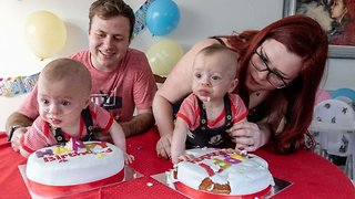 Premature twin born at 23 weeks and weighing just one pound celebrate milestone first birthday