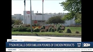 Tyson recalls over 8 million pounds of chicken products