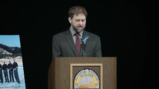 Chris Turner, family friend, speaks at Talley memorial service