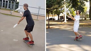 Skateboarder Notches Up The Difficulty Level By Juggling As He Skates